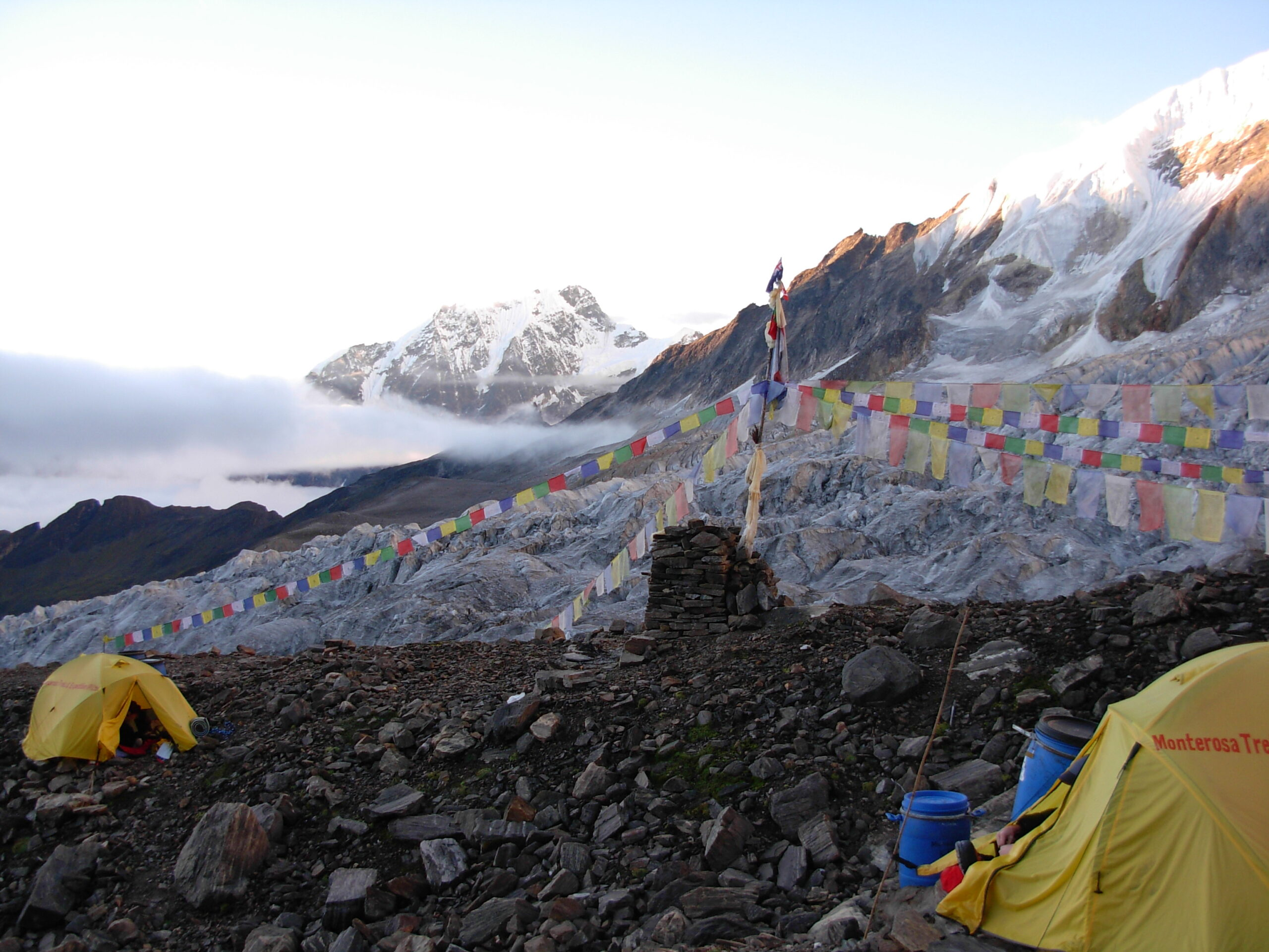 Everest Base Camp with prayer flags