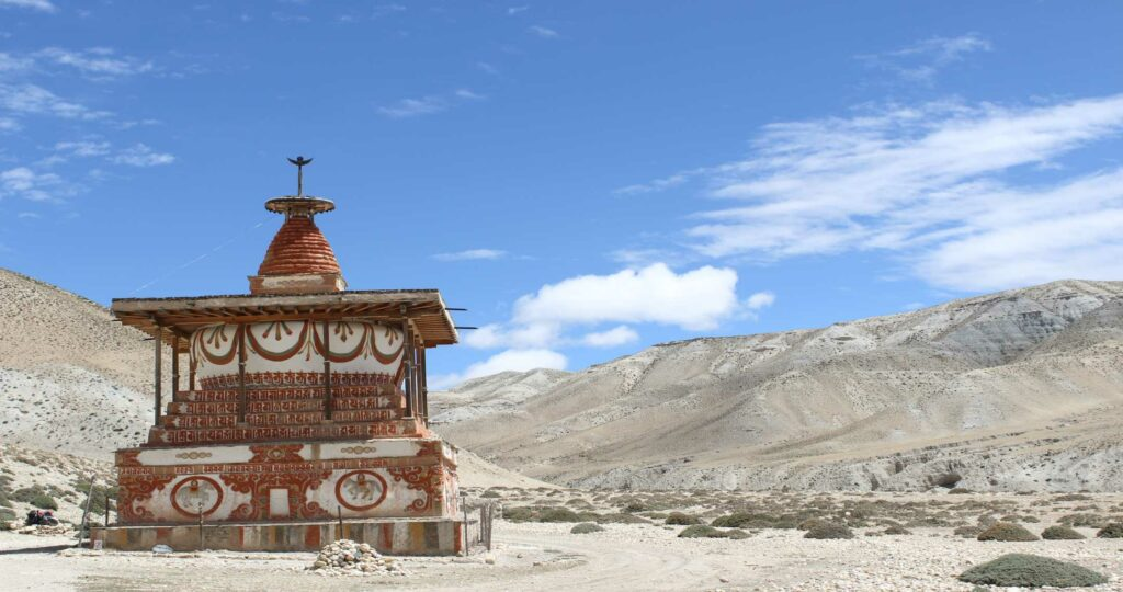 Remote stupa in the Mustang Region