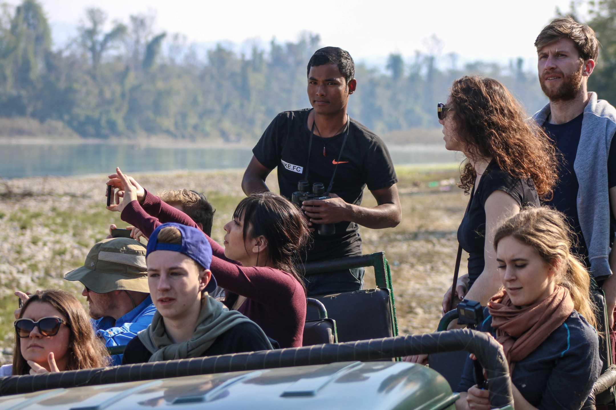 On safari in Chitwan with a Barauli guide