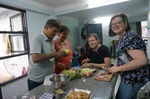 Students at the Kathmandu cooking class
