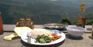 Nepali meal looking over hills