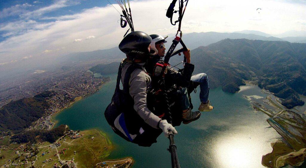 Paragliding over Lake Phewa