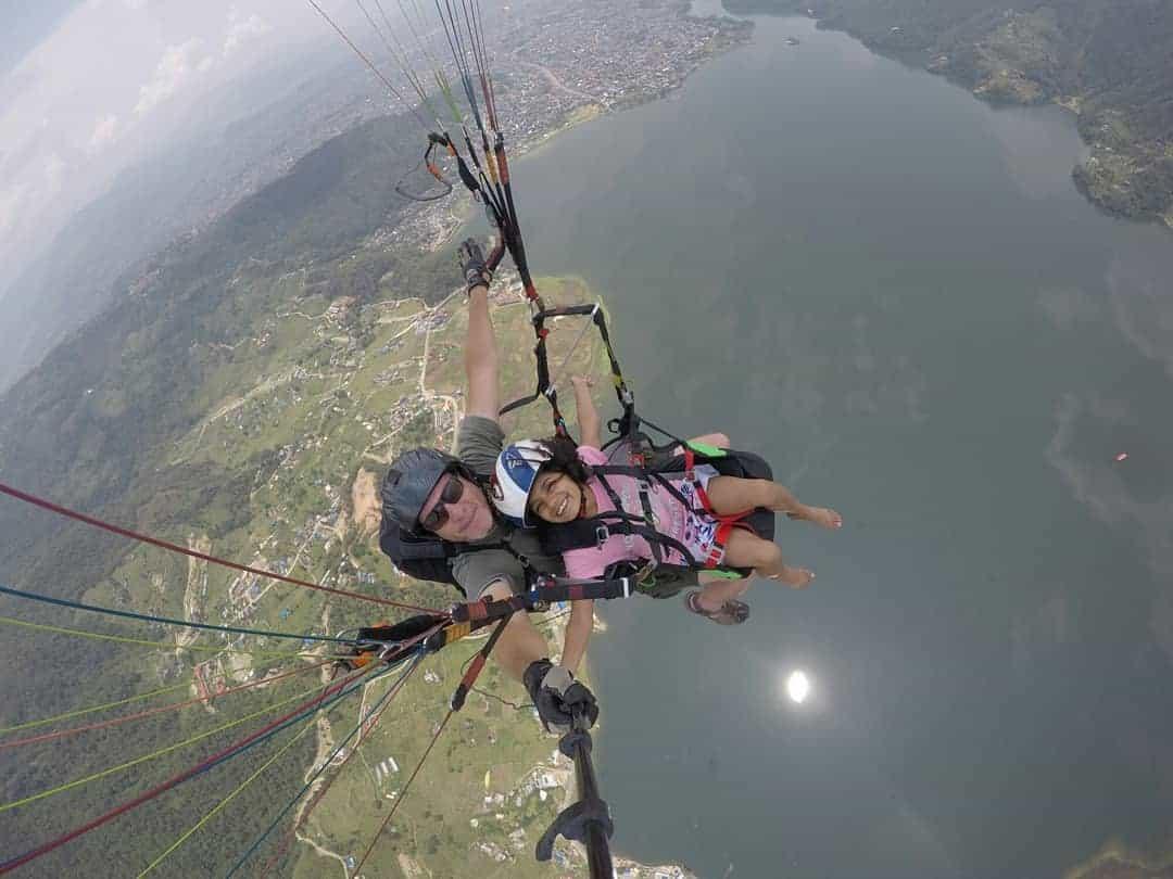 Paragliding over Lake Phewa, Pokhara