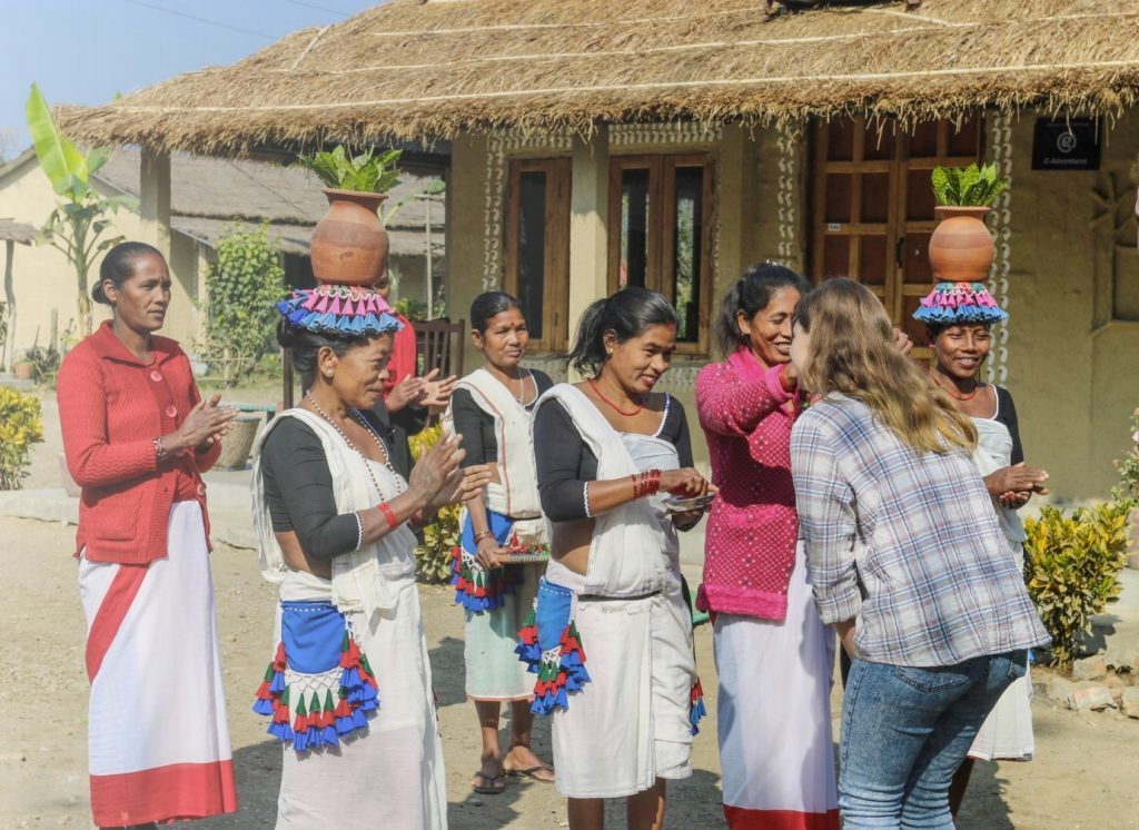 Tourist meeting local women in Nepal