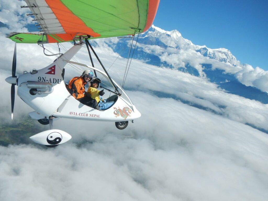 Ultralight flight above Pokhara