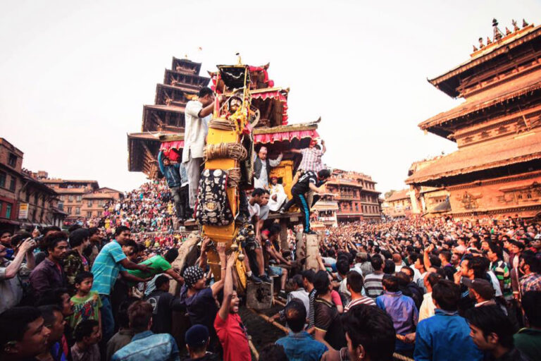 Crowds celebrating Biskt Jatra in Bhaktapur