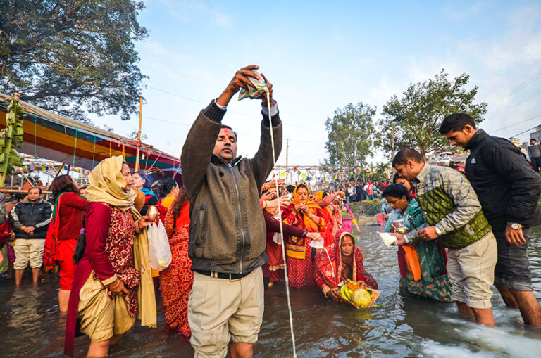 Local man taking part in Chhat Festival