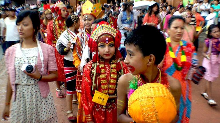 Young festival goers at Gai Jatra in Nepal