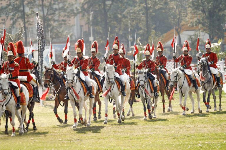 Soldiers on horseback at Ghode Jatra festival
