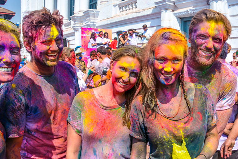 tourists joining Holi festival