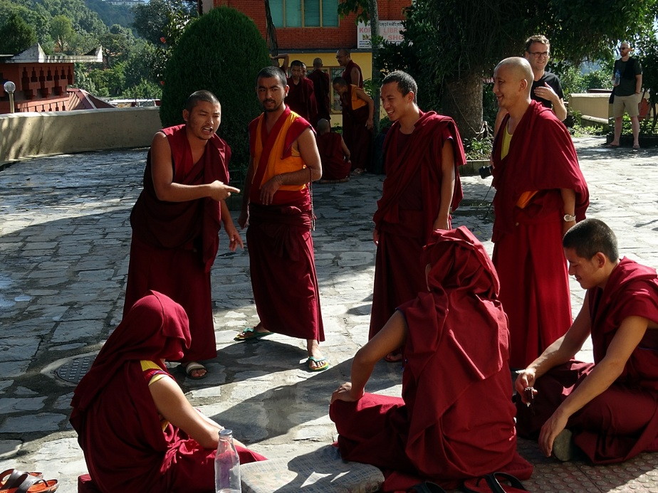 monks debating at Kopan Monastery