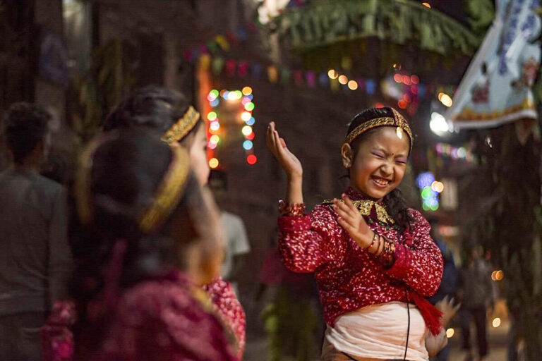 Girls dancing at Thar festival in Nepal