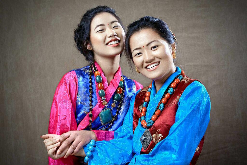 Nepali women in traditional dress